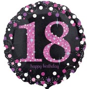 Black & Pink Holographic 18th Birthday Foil Balloon (18in. / 45cm) Pk 1