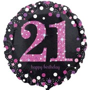 Black & Pink Holographic 21st Birthday Foil Balloon (18in. / 45cm) Pk 1