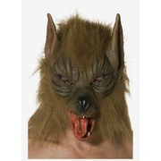 Halloween Adult Brown Wolf Latex Mask with Hair Pk 1