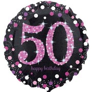 Black & Pink Holographic 50th Birthday Foil Balloon (18in. / 45cm) Pk 1