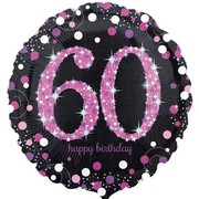 Black & Pink Holographic 60th Birthday Foil Balloon (18in. / 45cm) Pk 1