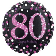 Black & Pink Holographic 80th Birthday Foil Balloon (18in. / 45cm) Pk 1