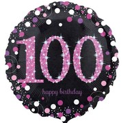 Black & Pink Holographic 100th Birthday Foil Balloon (18in. / 45cm) Pk 1