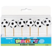 Soccer Balls Pick Candles Pk 6