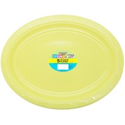 Soft Yellow Plastic Oval Plates (30x23cm) Pk 5