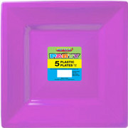Pretty Purple Plastic Square Plates (23cm) Pk 5