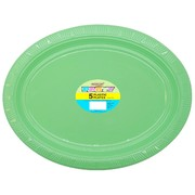 Apple Green Plastic Oval Plates (30x23cm) Pk 5