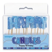 Glitz Blue Happy Birthday Candles Pk 1