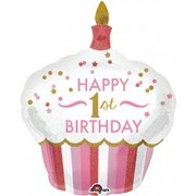 1st Birthday Cupcake Girl Foil Supershape Balloon Pk1