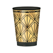 Glitz & Glam Black & Gold Plastic Tumbler Cups (295ml) Pk 20