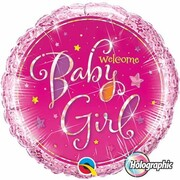 Baby Girl Holographic 18in. Foil Balloon Pk 1