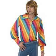 Mens 70s Rainbow Shirt Large (Shirt Only)