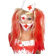 Bloody Nurse Costume Kit (Mask, Headpiece, Eye Patch) Pk 1