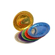 Assorted Colour Laser Party Plates - Large 23cm Pk6
