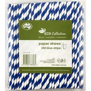 Blue & White Stripe Eco Paper Straws Pk 250
