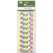 Rainbow Assorted Colour Stripe Eco Paper Straws Pk 25