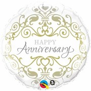 Happy Anniversary Classic Silver & Gold 18in. Foil Balloon Pk 1