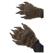 Brown Hairy Monster Hand Costume Gloves with Claws (1 PAIR)