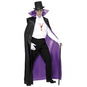 Adult Count Long Costume Cape (Reversible Purple & Black) Pk 1 (CAPE ONLY)