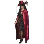 Adult Long Costume Cape (Reversible Red & Black) Pk 1 (CAPE ONLY)