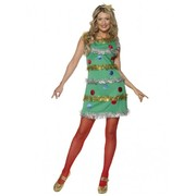 Adult Christmas Tree Dress Costume with Tinsel (Small, 8-10)