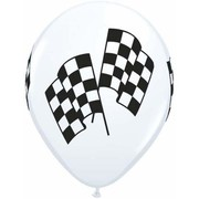 White 11in. Latex Balloons with Check Racing Flags Pk 50