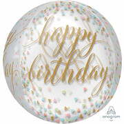 Happy Birthday Pastel Confetti Print Orbz Balloon (38cm x 40cm) Pk 1