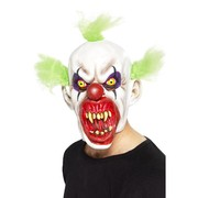 Halloween Sinister Clown Full Latex Mask with Green Hair Pk 1