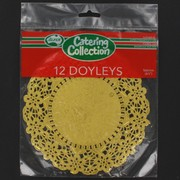 Gold Round Doilies 166mm Pk12