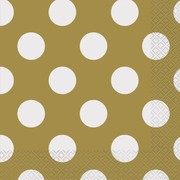 Gold 2 Ply Lunch Napkins with White Polka Dots Pk 16