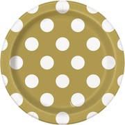 Gold 7in. Paper Plates with White Polka Dots Pk 8