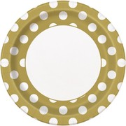 Gold 9in. Paper Plates with White Polka Dots Pk 8