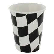 Cups 9oz Black Check Pk8