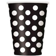 Black 12oz Paper Cups with White Polka Dots Pk 6
