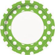 Lime Green 9in Paper Plates with White Polka Dots Pk 8