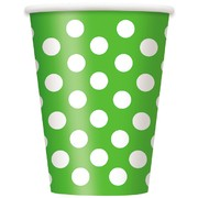 Lime Green 12oz Paper Cups with White Polka Dots Pk 6
