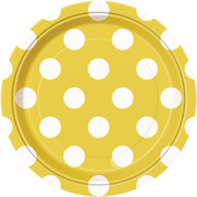 Yellow 7in Paper Plates with White Polka Dots Pk 8