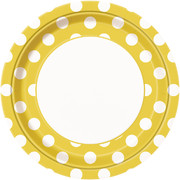 Yellow 9in Paper Plates with White Polka Dots Pk 8