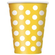 Yellow Paper Cups with White Polka Dots 12oz Pk 6