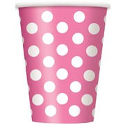 Hot Pink Paper Cups with White Polka Dots 12oz Pk 6