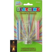 Number 4 Flashing Candle Holder & Candles Pk 1