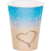 Beach Love 12oz. Paper Cups Pk 8