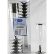 Party Champagne Flutes - Silver Rim & Base 175ml Pk 48