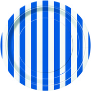 Blue Stripes Small Paper Plates Pk 8
