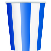 Blue Stripes 12oz Paper Cups Pk 6