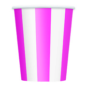 Pink Stripes 12oz Paper Cups Pk 6