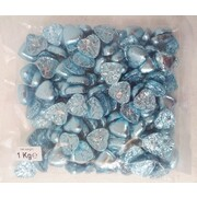 Blue Foil Wrapped Chocolate Hearts (1kg)