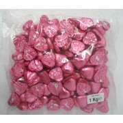Pink Foil Wrapped Chocolate Hearts (1kg)