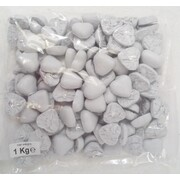 White Foil Wrapped Chocolate Hearts (1kg)