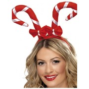Christmas Red & White Candy Canes Headband with Bows Pk 1